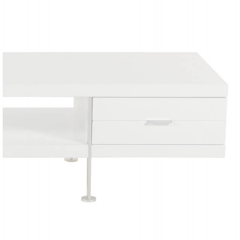Meuble tv porquerolles en bois laqu blanc for Meuble tv bois et blanc laque