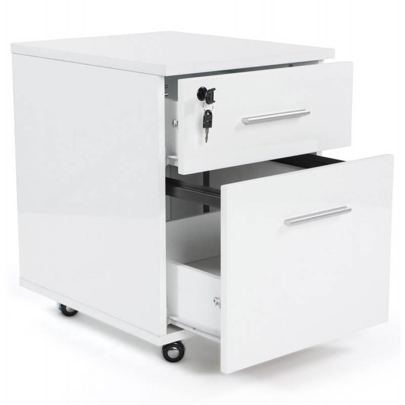 Caisson de bureau floride en bois laqu blanc fran ais - Caisson de bureau en bois ...