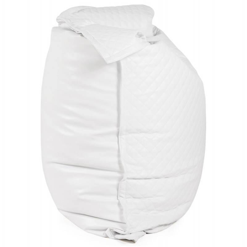 Pouf rectangulaire lilian en textile simili cuir blanc - Pouf simili cuir blanc ...