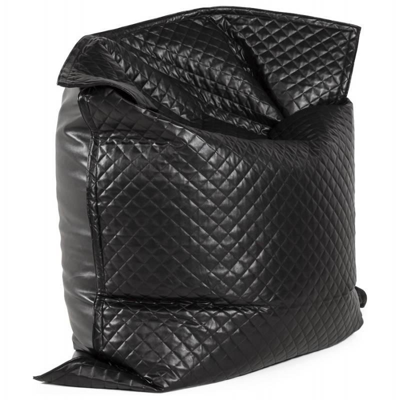 Pouf rectangulaire lilian en textile simili cuir noir - Pouf noir simili cuir ...