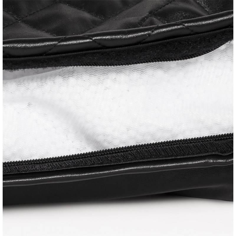 Pouf rectangulaire lilian en textile simili cuir noir fran ais french - Pouf noir simili cuir ...
