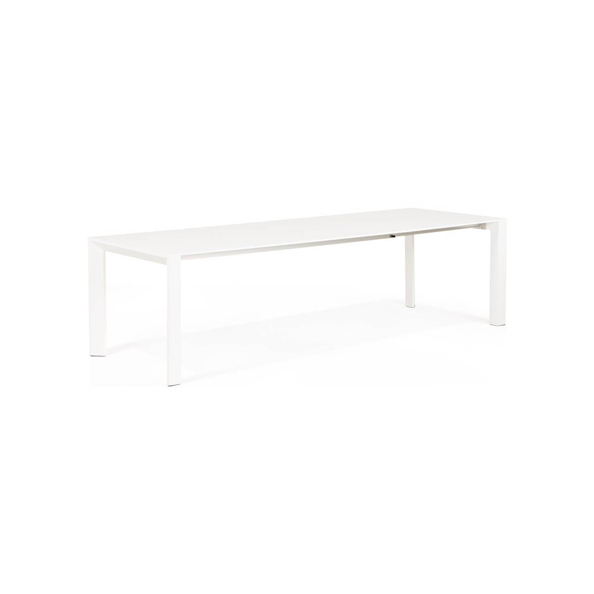 Table design avec 2 rallonges macy en bois peint blanc for Table rectangulaire avec rallonge