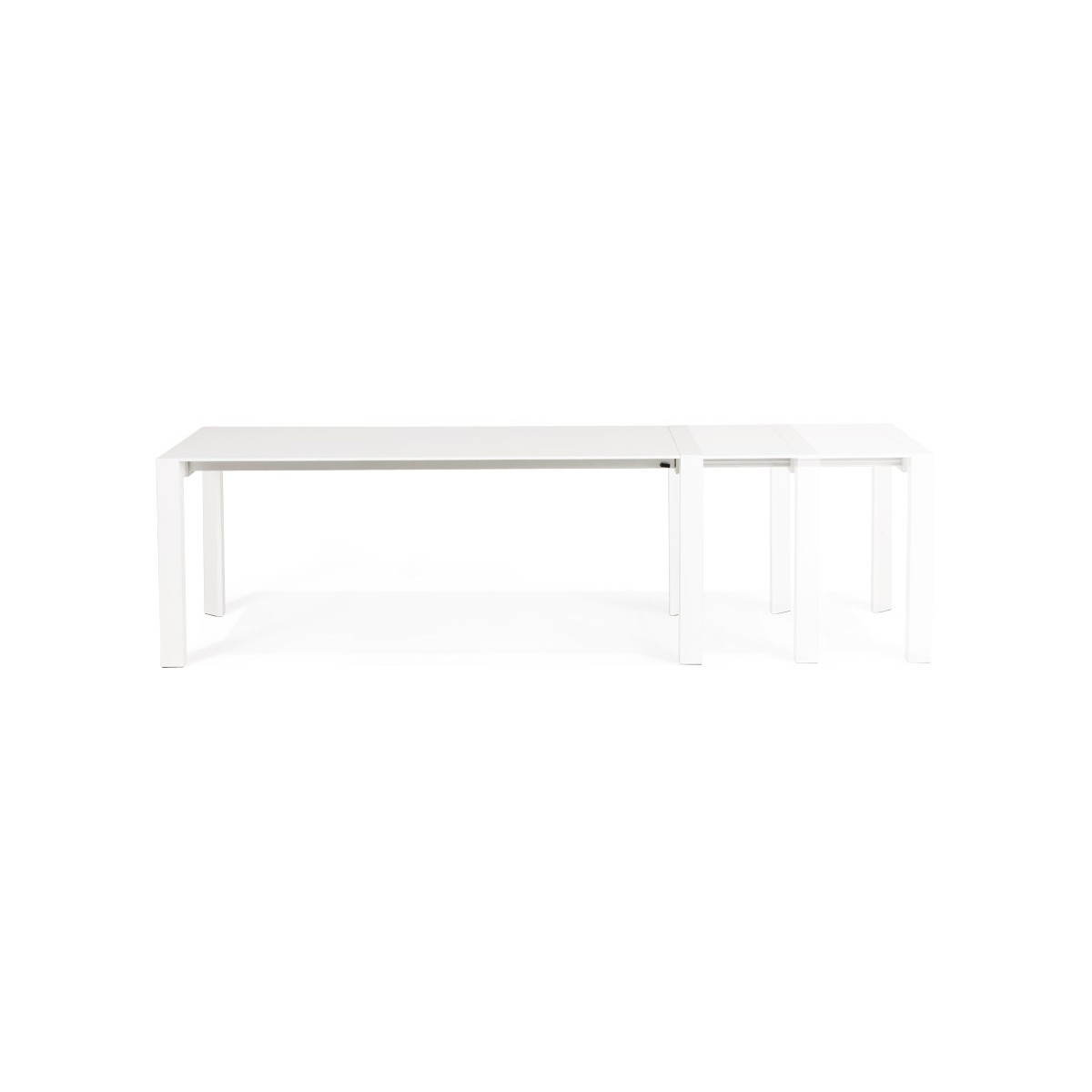 Table design avec 2 rallonges MACY en bois peint (blanc) (English (English))