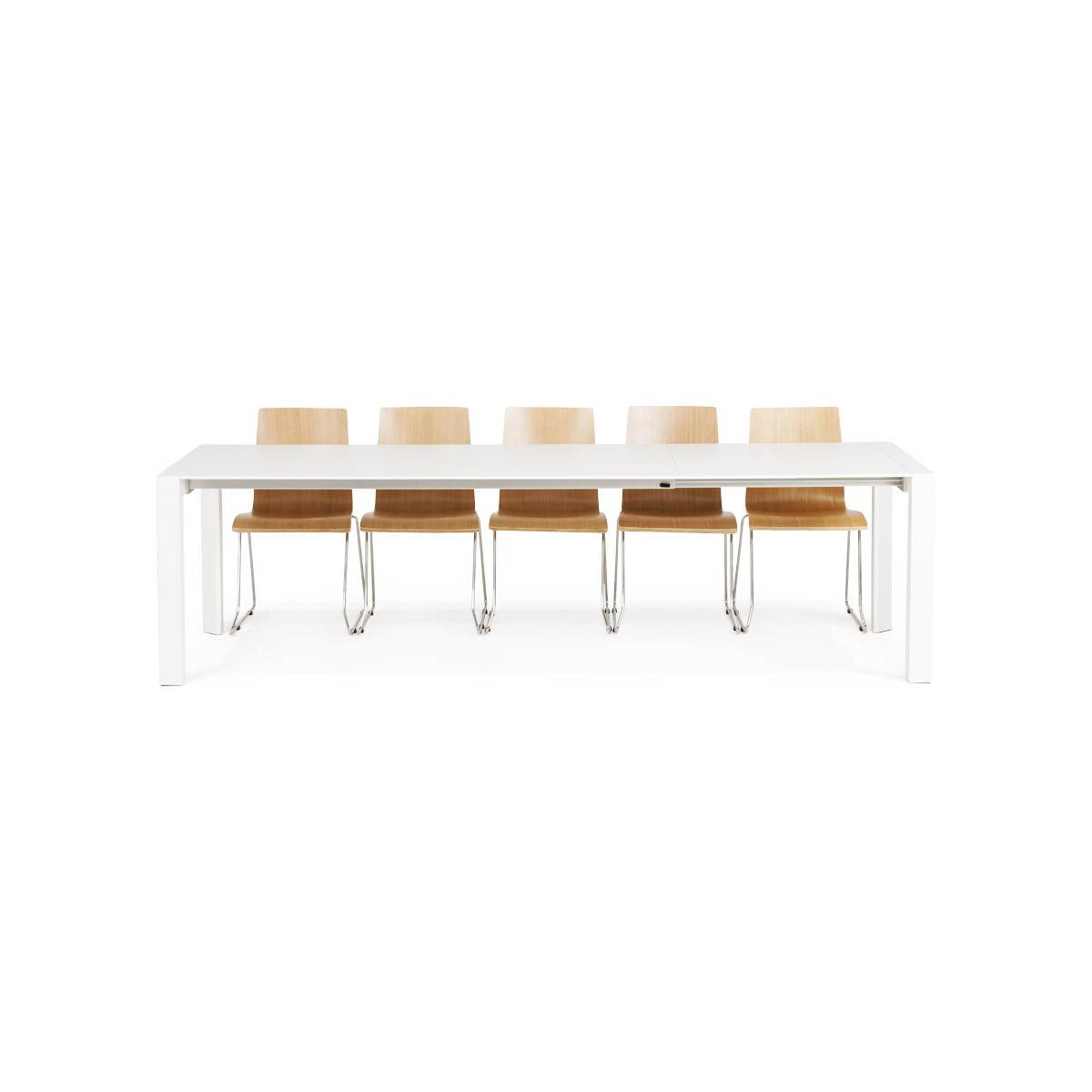 Table design avec 2 rallonges macy en bois peint blanc - Tables a rallonges ...