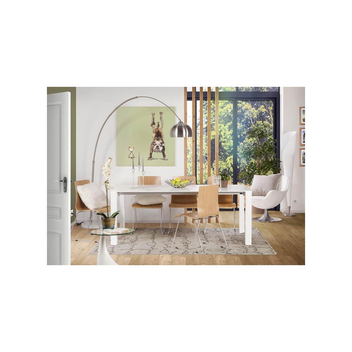#644832 Table Design Avec 2 Rallonges MACY En Bois Peint (blanc  4095 table salle a manger moderne avec rallonges 1200x1200 px @ aertt.com