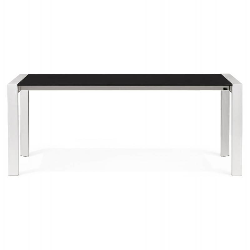 Table design avec 2 rallonges macy en bois peint noir english english Table rallonge design