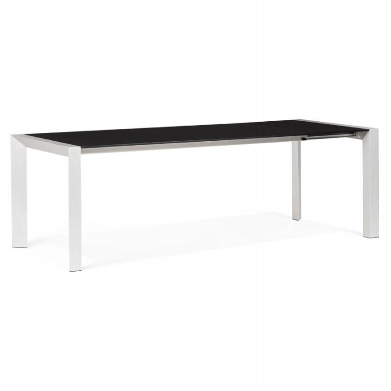 Table design avec 2 rallonges macy en bois peint noir for Table bois metal rallonge