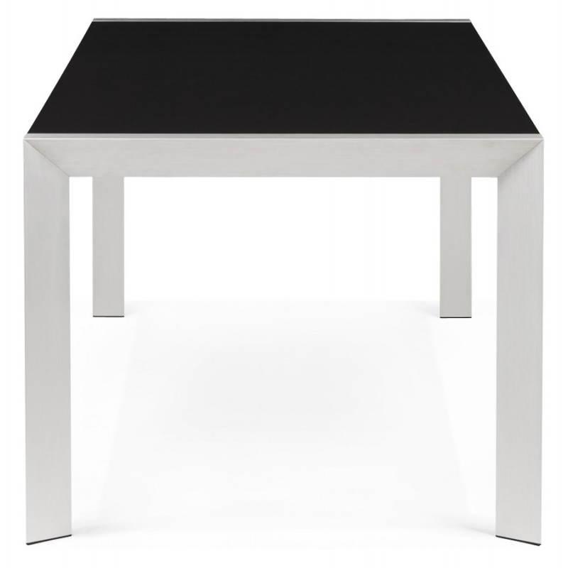 Table design avec 2 rallonges MACY en bois peint (noir  ~ Table Bois Noir