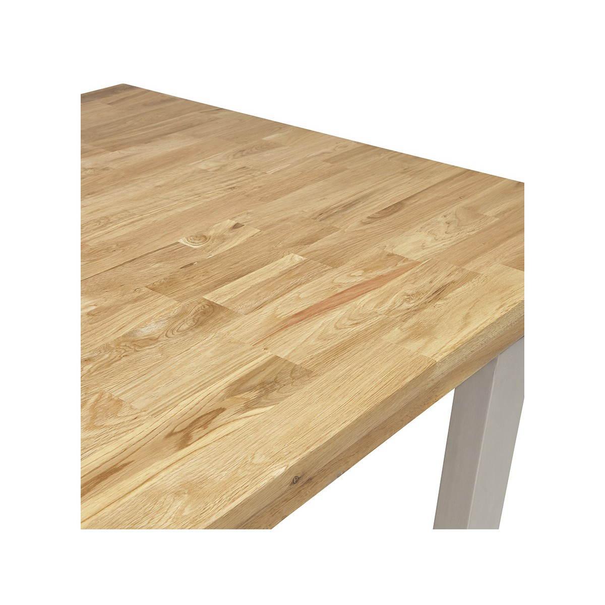 Table moderne rectangulaire panou en ch ne massif bois naturel fran ais french - Table en chene massif moderne ...