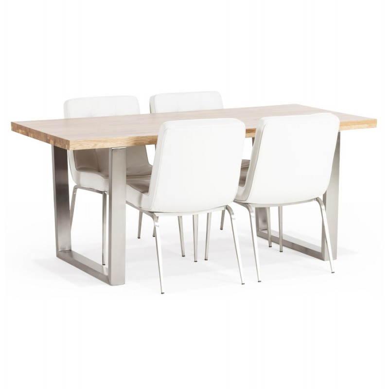 table moderne rectangulaire panou en ch ne massif bois naturel. Black Bedroom Furniture Sets. Home Design Ideas