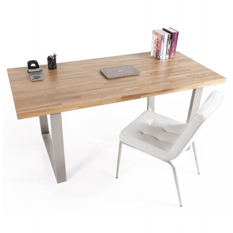 Table moderne rectangulaire panou en ch ne massif bois - Table chene moderne ...