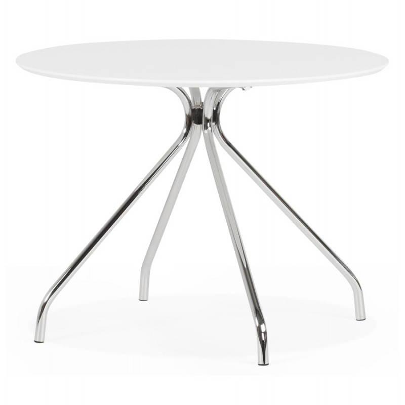 Table moderne ronde minou en bois peint et m tal blanc for Table ronde bois et metal