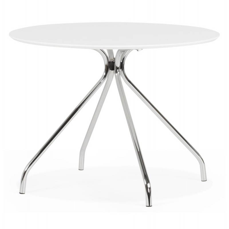 table moderne ronde minou en bois peint et m tal 100 cm blanc. Black Bedroom Furniture Sets. Home Design Ideas