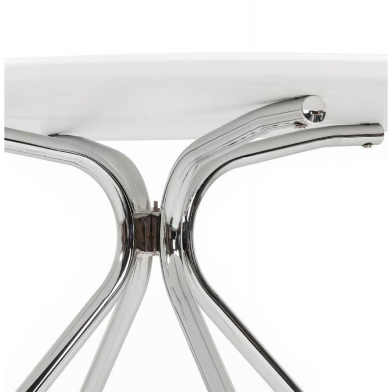 Tavolo rotondo moderno Kitty in legno dipinto e metallo (bianco ...