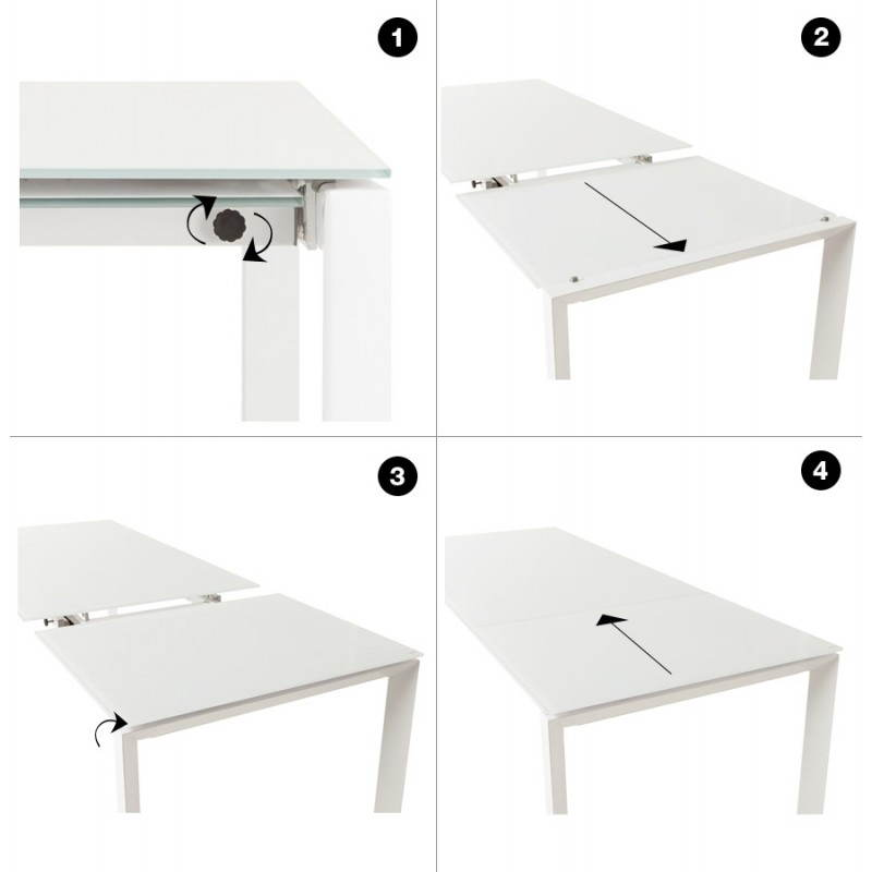 table design rectangulaire avec rallonge jeanne en verre et m tal blanc. Black Bedroom Furniture Sets. Home Design Ideas