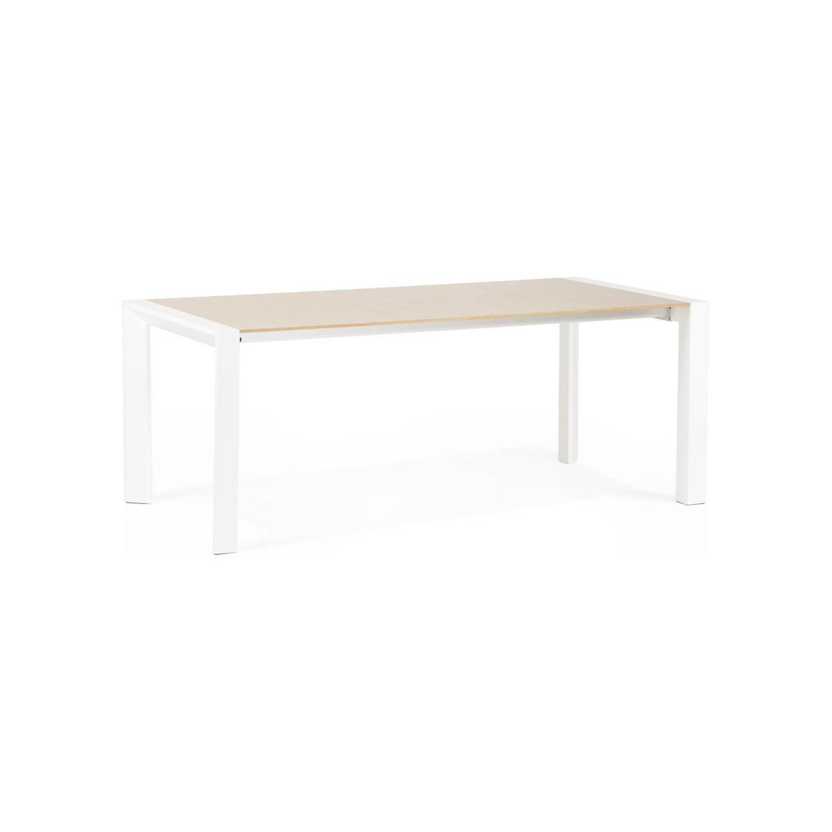 Table design rectangulaire avec rallonges solo en plaqu for Table metal bois salle manger