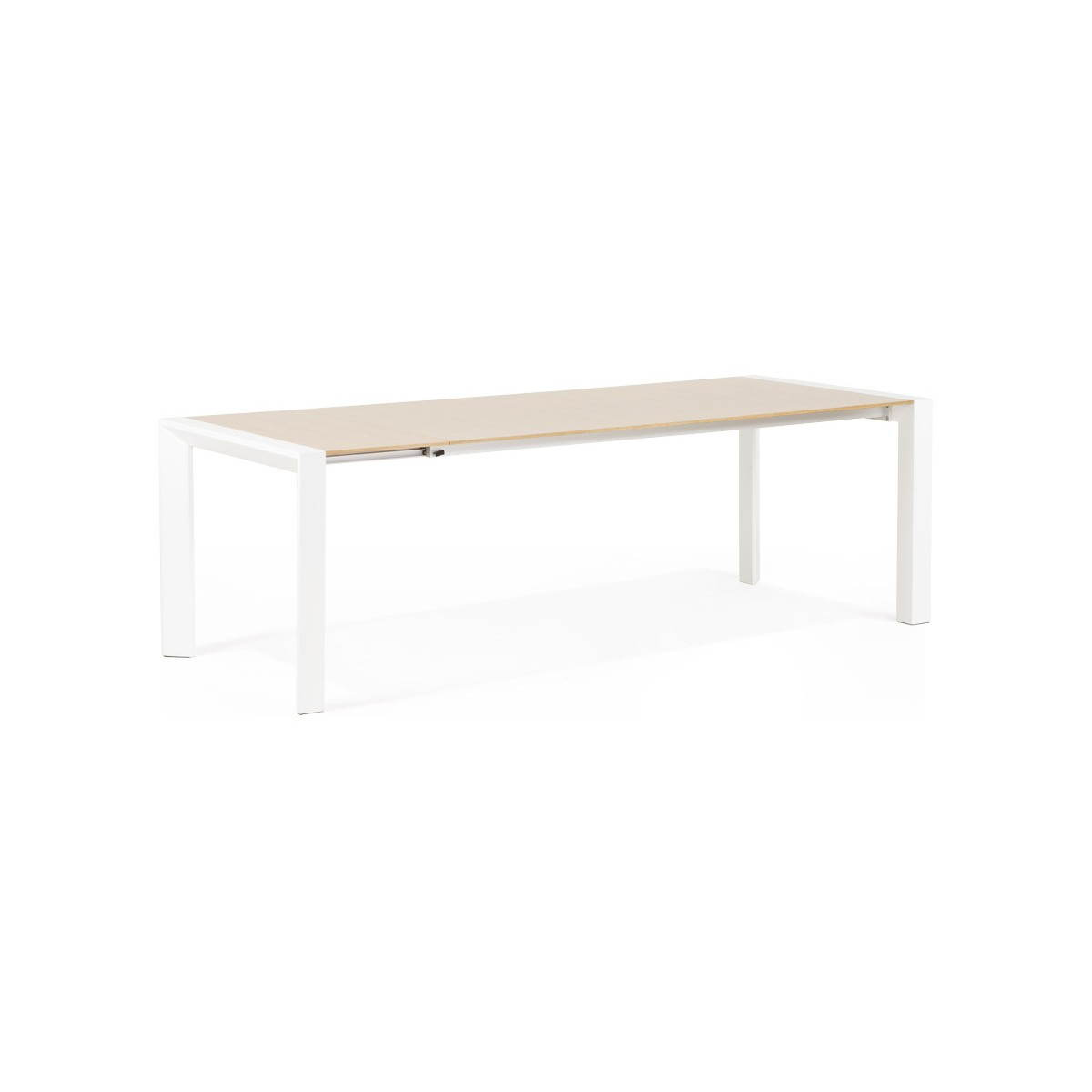 Table design rectangulaire avec rallonges solo en plaqu ch ne et m tal bois - Table basse chene naturel ...