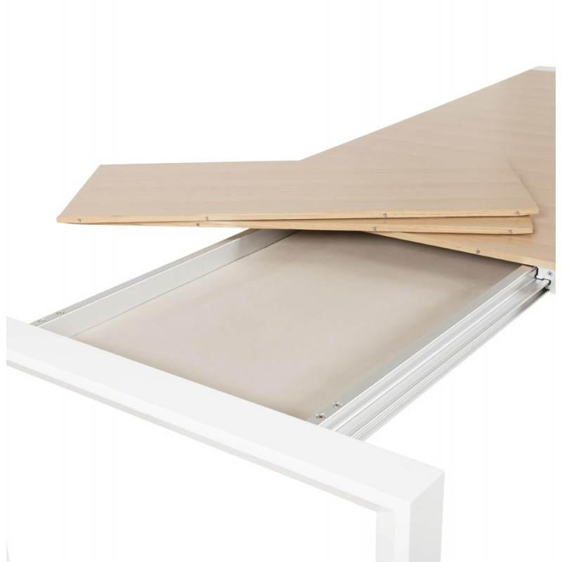 Table design rectangulaire avec rallonges SOLO en plaqué ch u00eane et métal (bois naturel) # Table Bois Et Metal Avec Rallonge