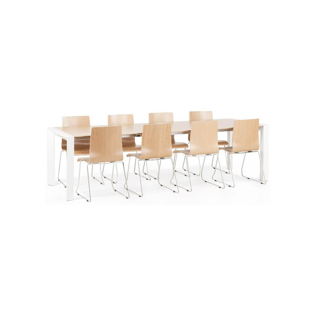 Table design rectangulaire avec rallonges solo en plaqu - Table salle a manger rectangulaire avec rallonge ...