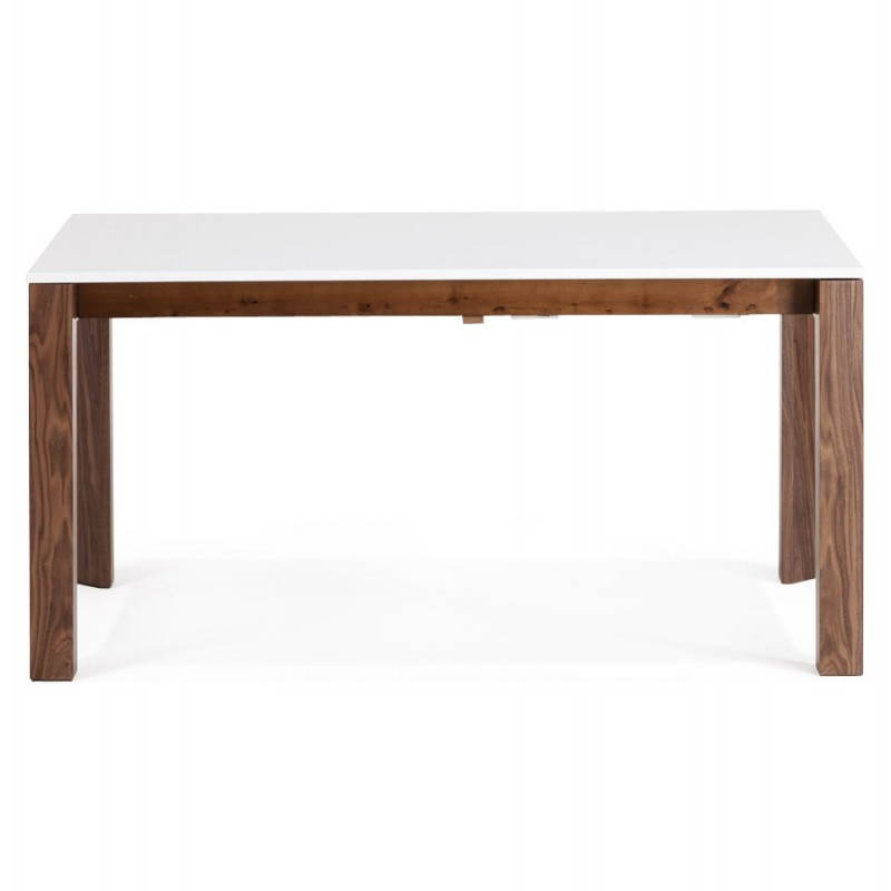 Table allonge bois blanc for Table ronde bois blanc avec rallonge