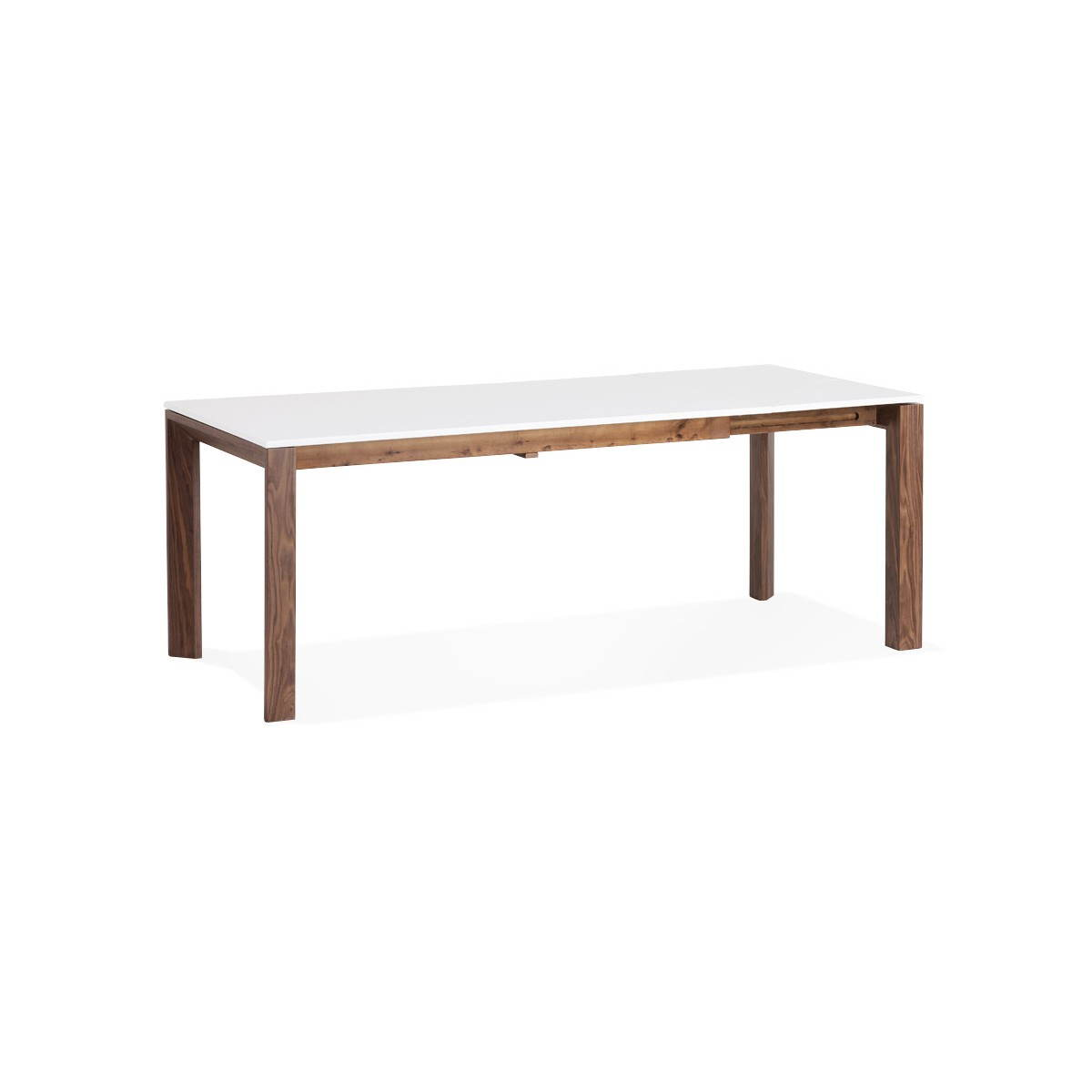 Table design rectangulaire avec rallonge loulou en bois blanc english eng - Table blanc laque avec rallonge ...