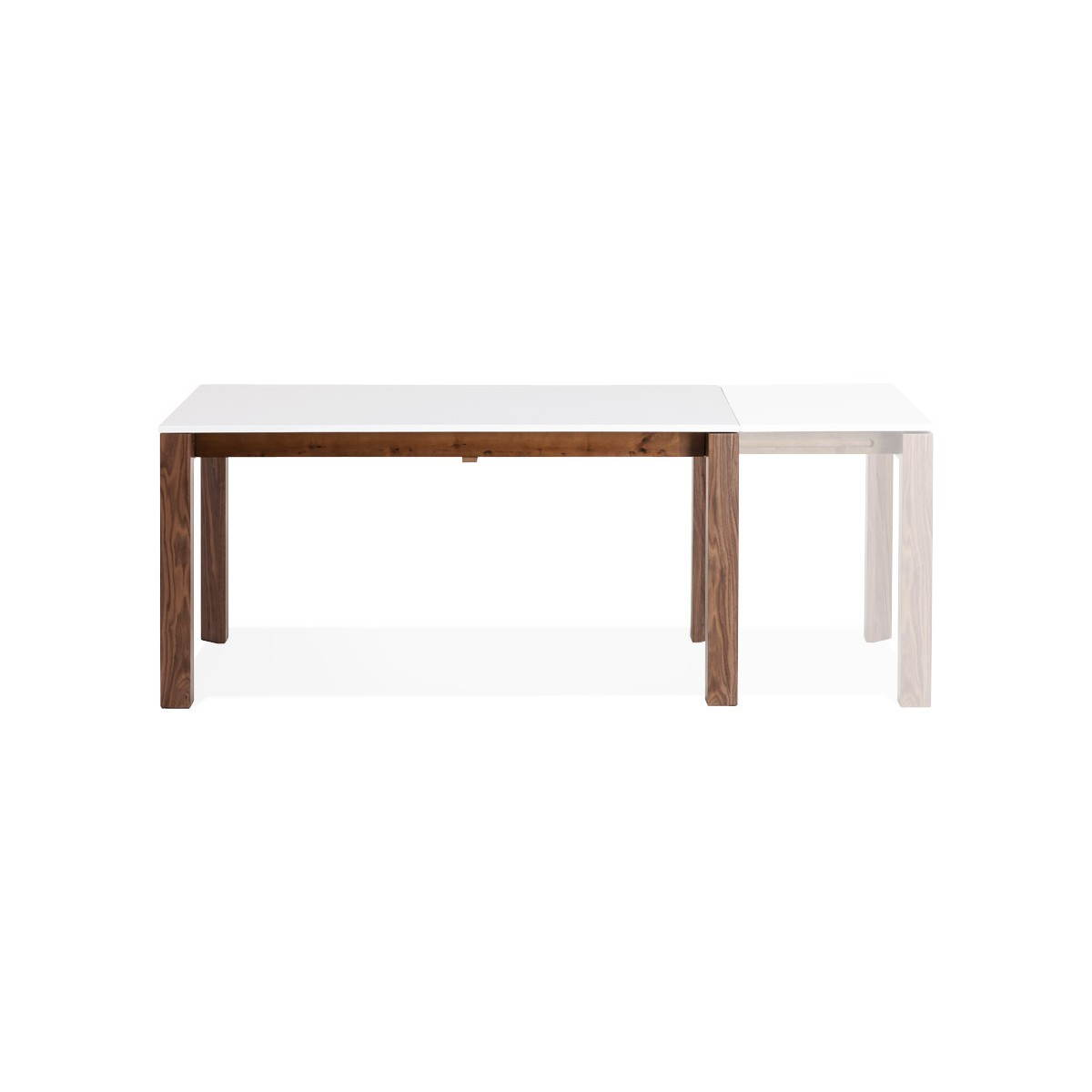 Table design rectangulaire avec rallonge loulou en bois blanc english eng - Table bois design contemporain ...