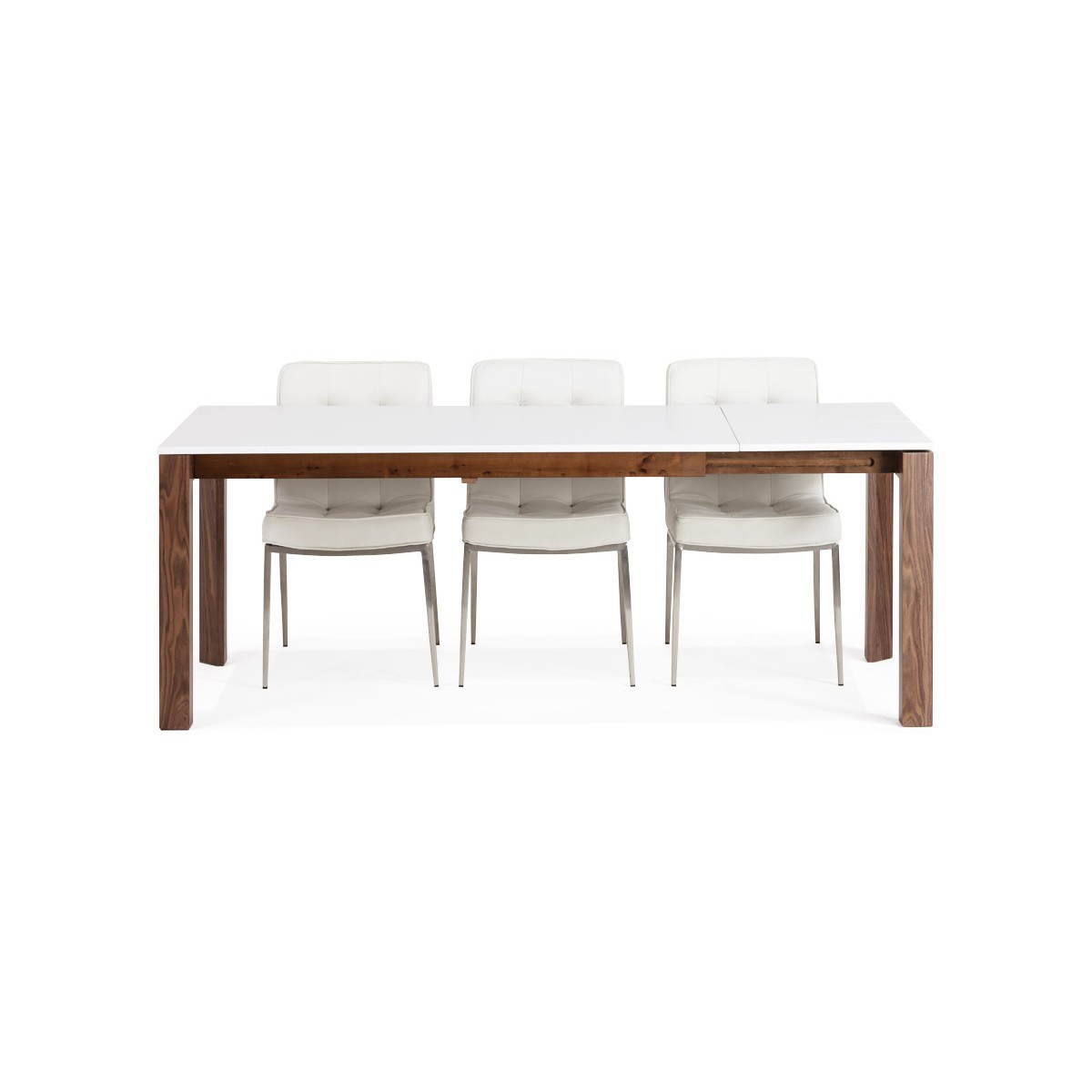 Table bois blanc for Table rectangulaire a rallonge