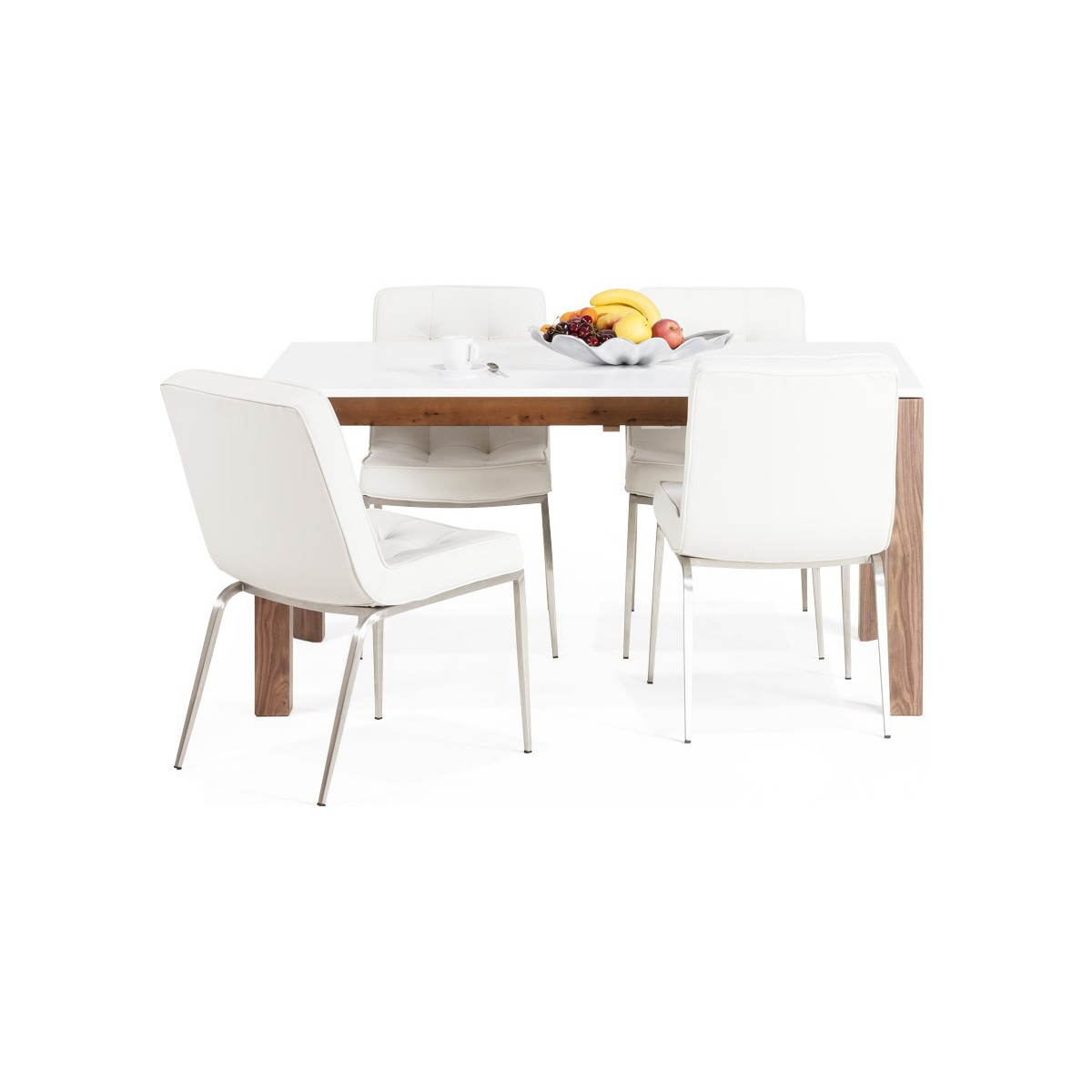 Table design rectangulaire avec rallonge loulou en bois blanc english eng - Table ronde bois blanc ...