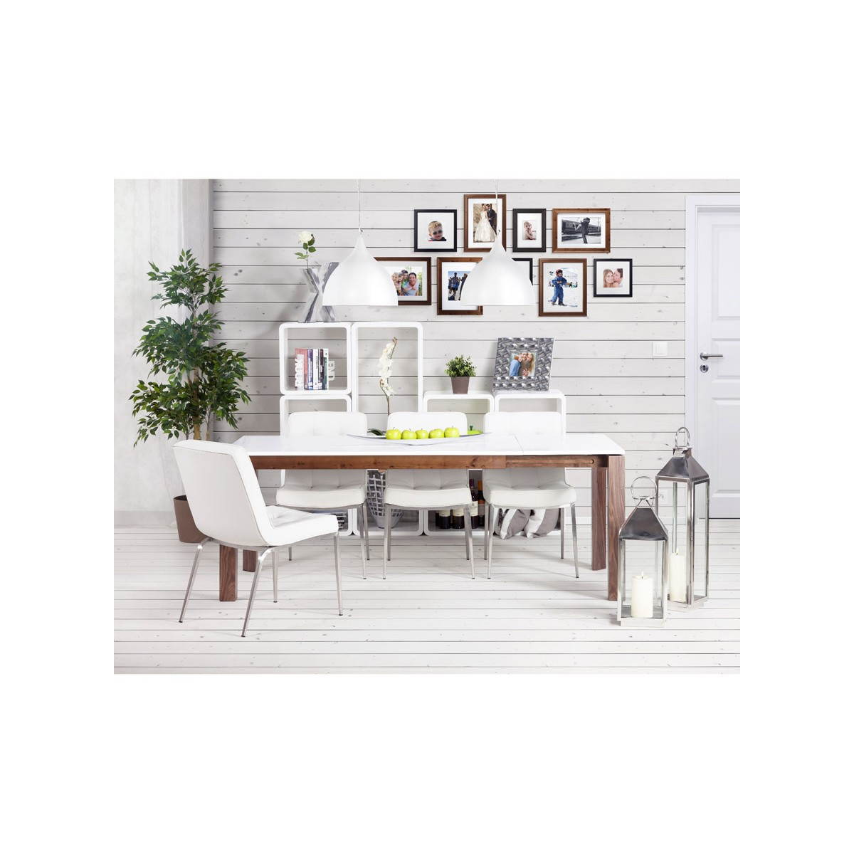 Table design rectangulaire avec rallonge LOULOU en bois (blanc) (English (Eng