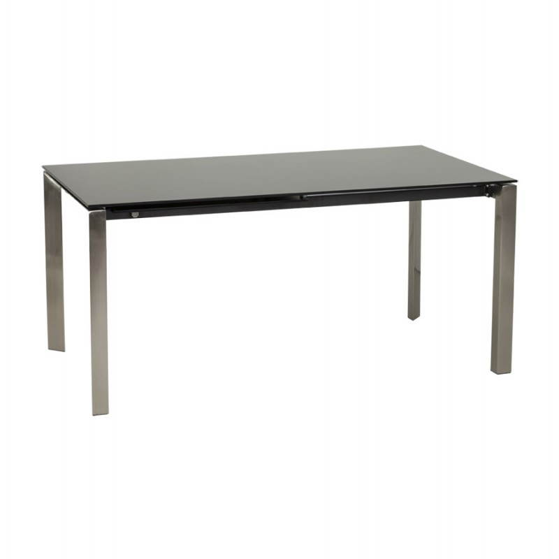 table design rectangulaire avec rallonge mona en verre tremp et inox noir. Black Bedroom Furniture Sets. Home Design Ideas