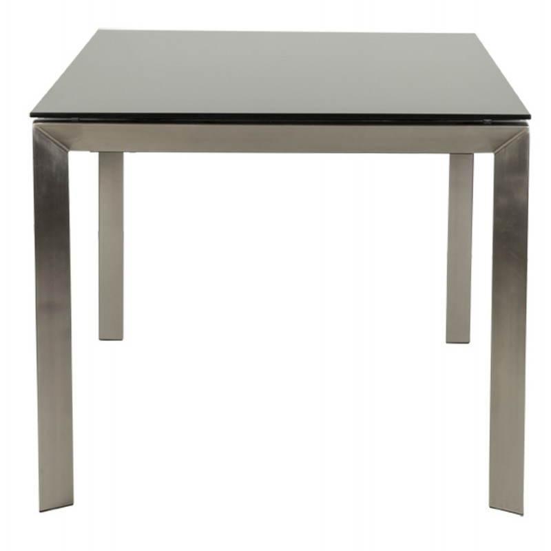 table design rectangulaire avec rallonge mona en verre tremp et inox noir. Black Bedroom Furniture Sets. Home Design Ideas