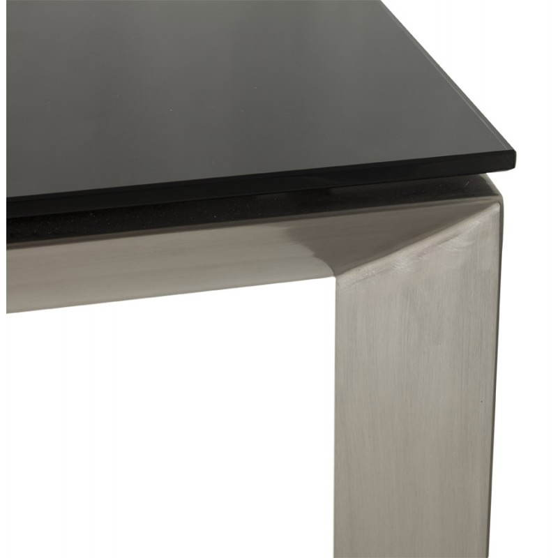 Table design rectangulaire avec rallonge mona en verre tremp et inox noir Table rallonge design