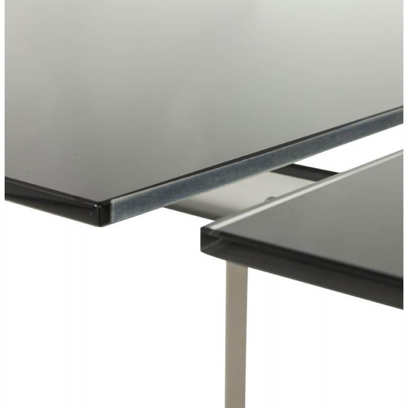Table design rectangulaire avec rallonge mona en verre - Table style industriel avec rallonges ...