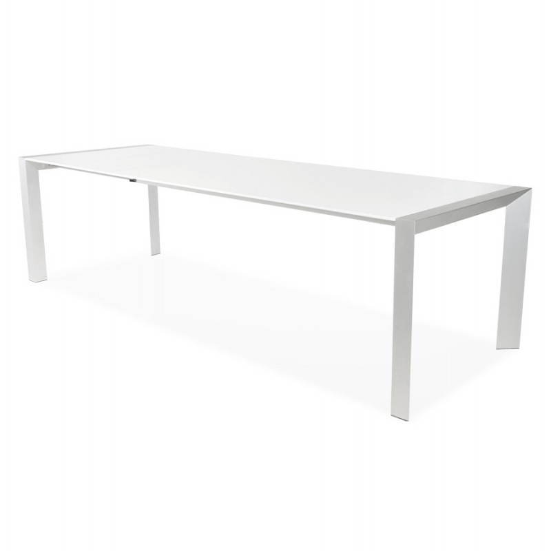 Table design rectangulaire avec rallonge fiona en bois laqu et aluminium bross blanc - Table rectangulaire a rallonge ...