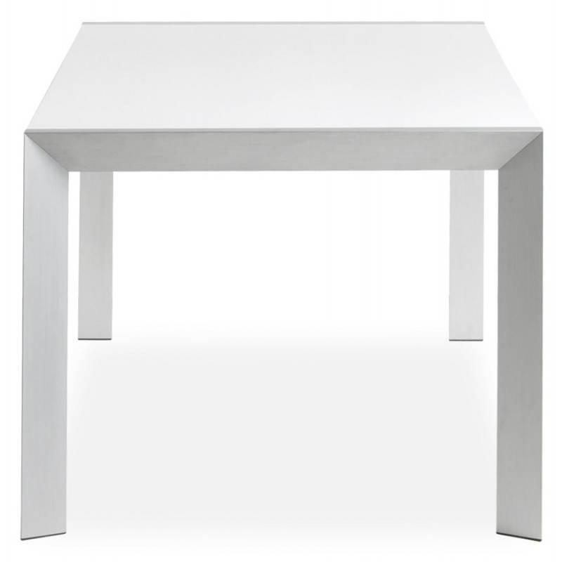 table design rectangulaire avec rallonge fiona en bois laqu et aluminium bross blanc. Black Bedroom Furniture Sets. Home Design Ideas