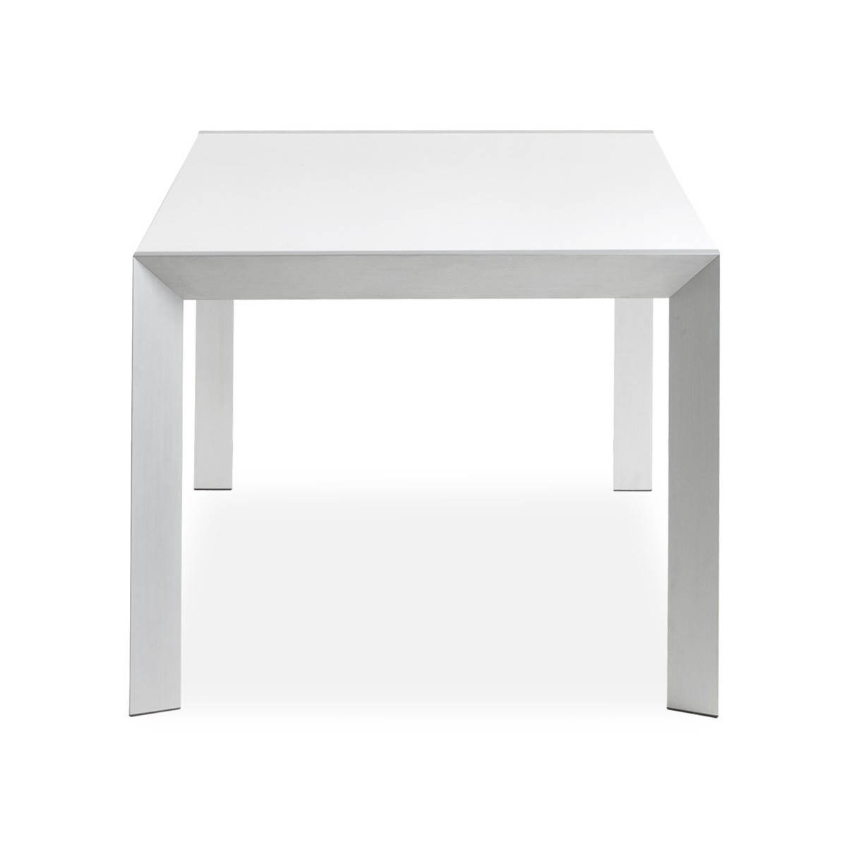 table design rectangulaire avec rallonge fiona en bois laqu et aluminium bross blanc. Black Bedroom Furniture Sets. Home Design Ideas