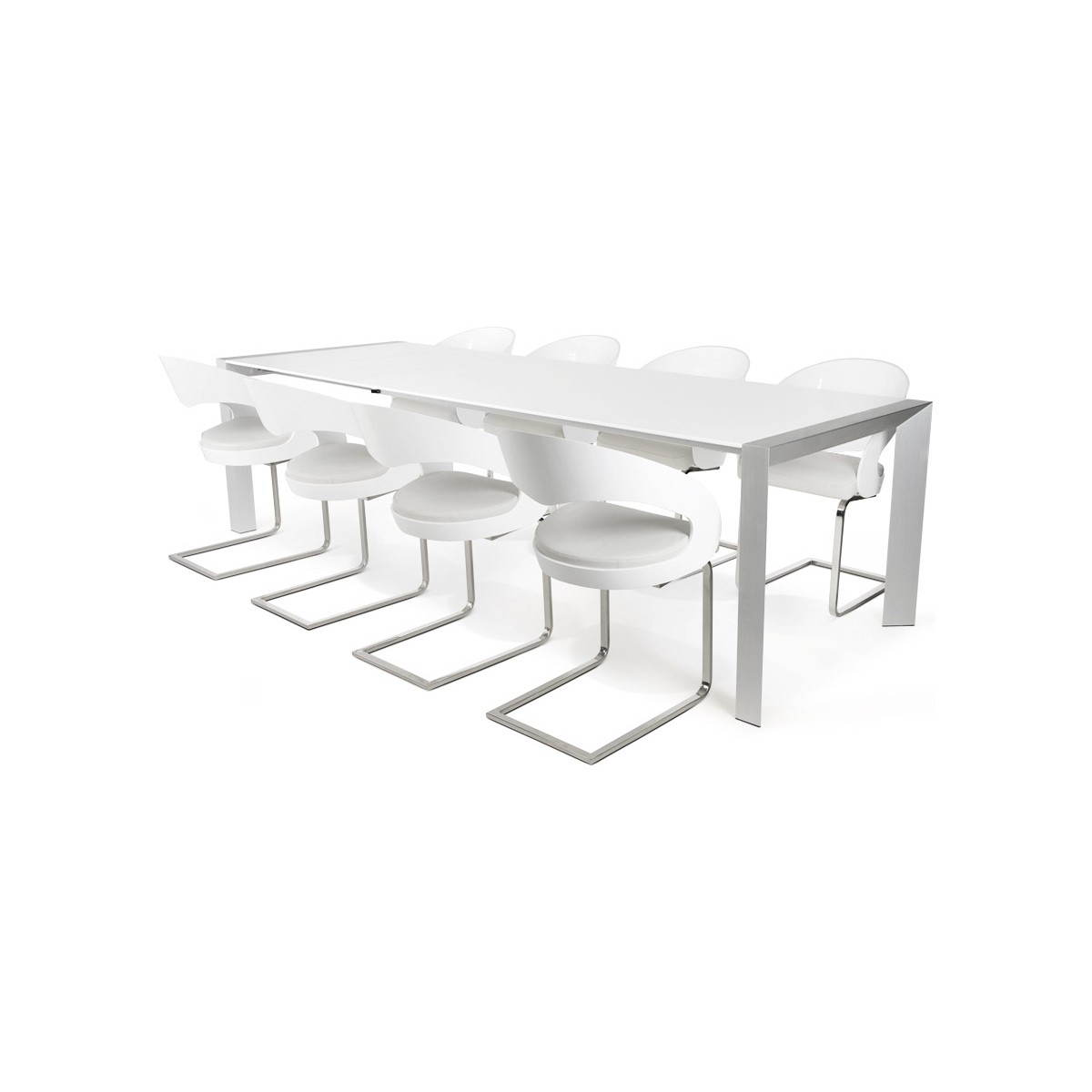 Table design rectangulaire avec rallonge fiona en bois laqu et aluminium bro - Table bois design contemporain ...