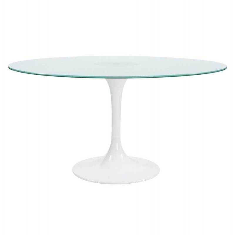 Table design ronde florane en verre tremp et fibre de verre sabl ebay - Table ronde verre trempe ...