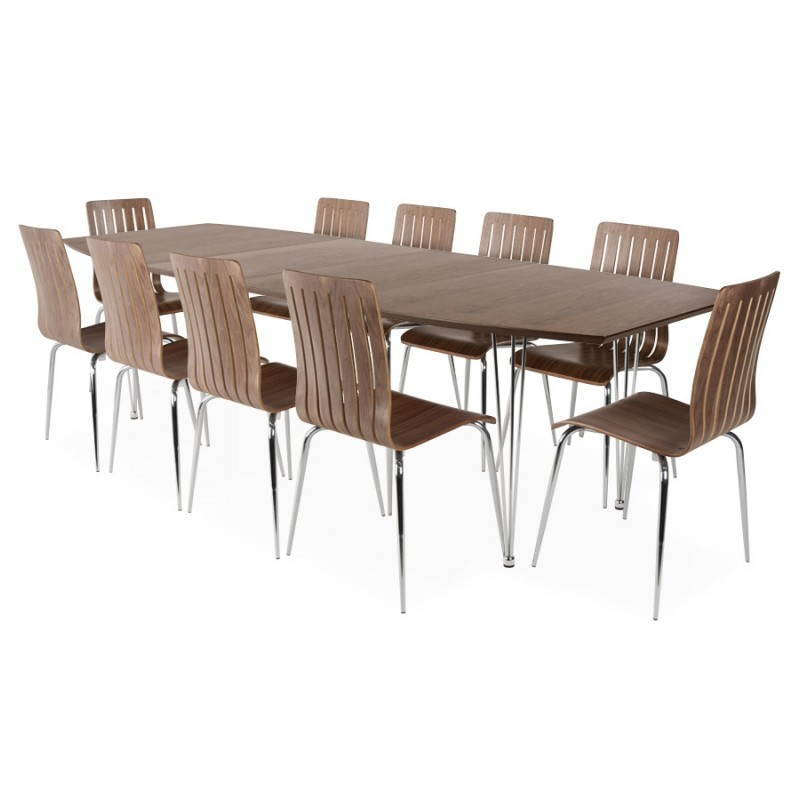 Table design rectangulaire avec rallonges rinbo en plaqu for Table salle manger ronde extensible design