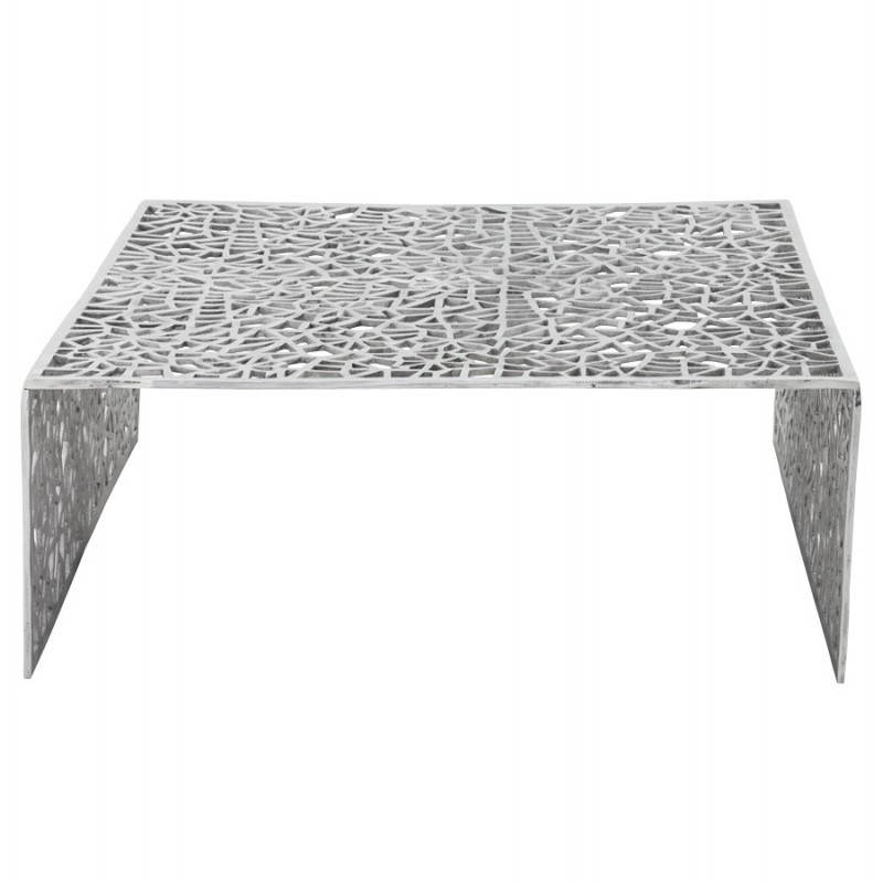 Table basse de salon carr e lady en aluminium aluminium fran ais french - Table carree exterieur aluminium ...