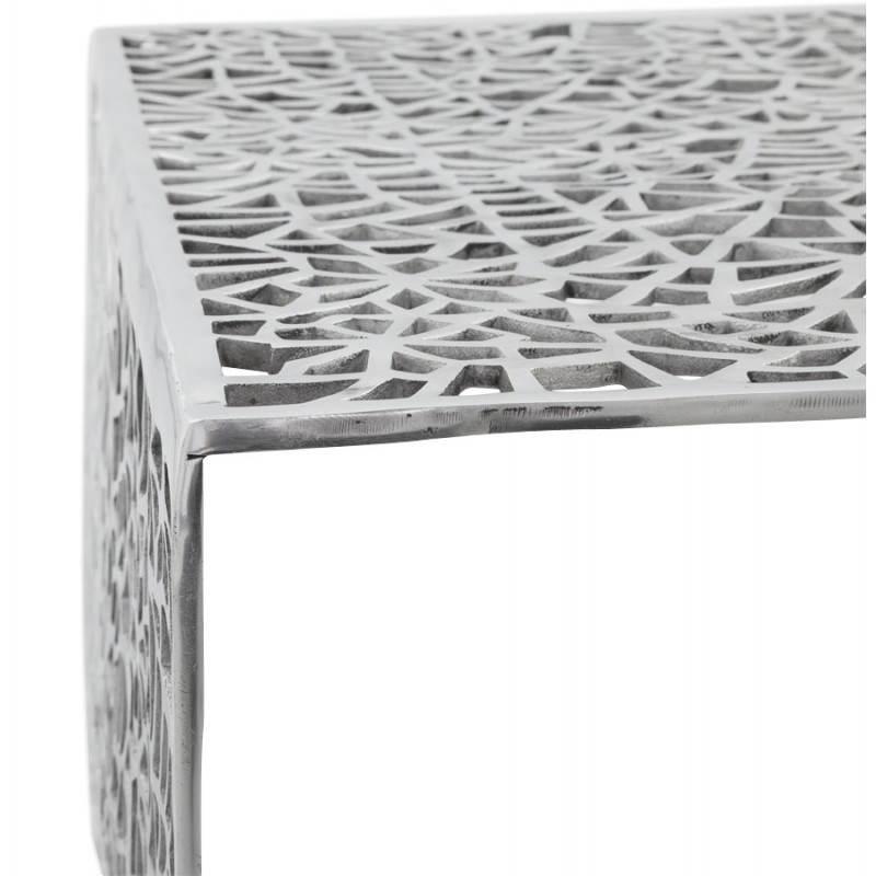 Table basse de salon carr e lady en aluminium aluminium - Table carree exterieur aluminium ...
