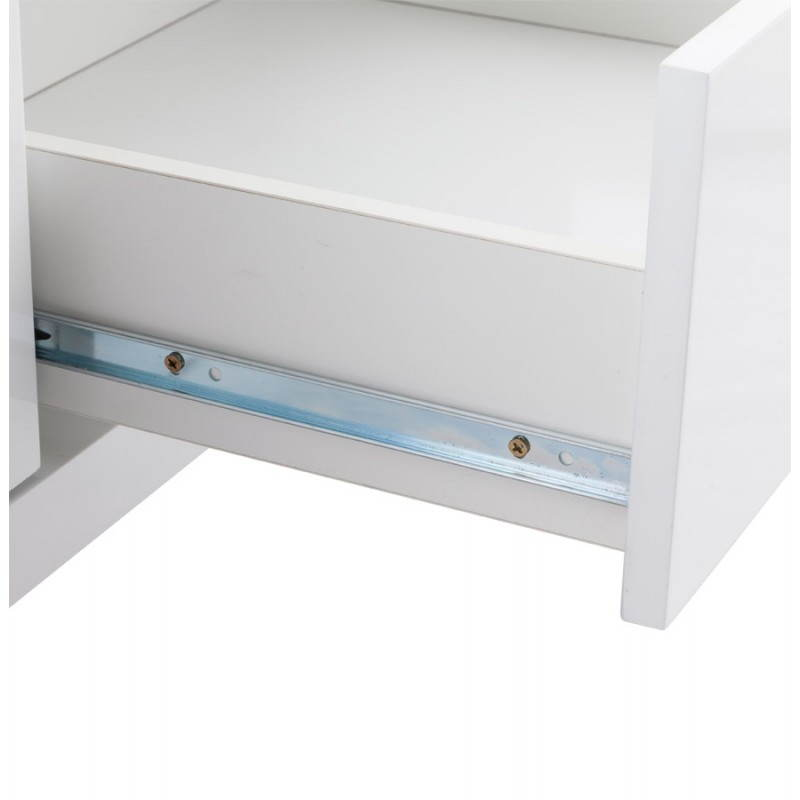 Meuble tv lifou en bois laqu blanc fran ais french for Meuble tv en bois blanc