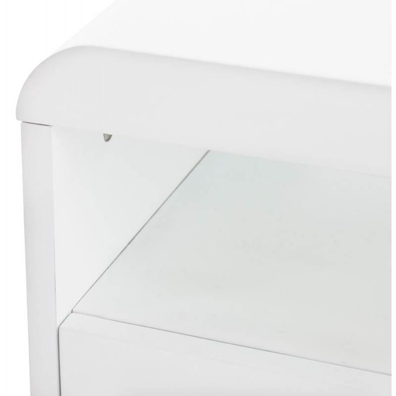 Meuble tv lifou en bois laqu blanc - Meuble en laque blanc ...