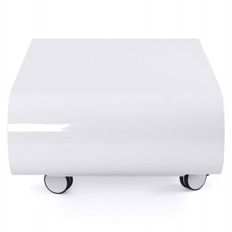 Table basse ovale sur roulettes lama en bois laqu blanc english english - Table basse blanc laque ...