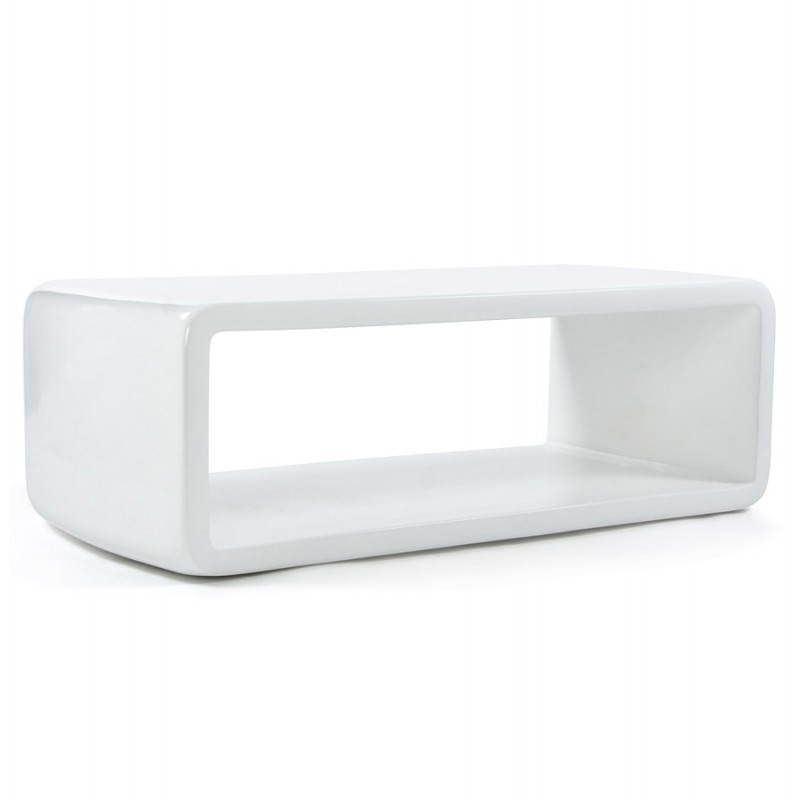 Table basse rectangulaire glamour en fibre de verre blanc fran ais french - Table basse en verre blanc ...