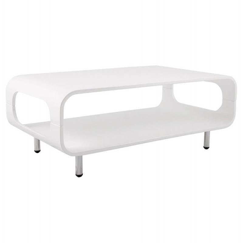 Table basse rectangulaire lomme en bois laqu blanc fran ais french - Table basse rectangulaire blanc laque ...
