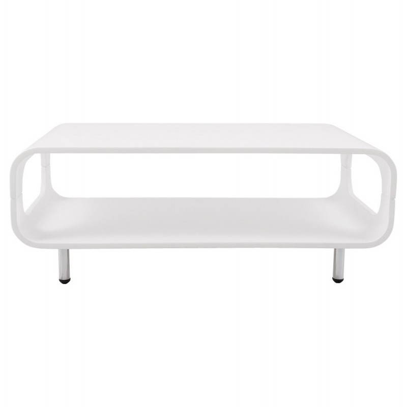 Table basse rectangulaire lomme en bois laqu blanc for Table salon blanc laque