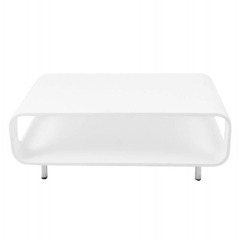 Table basse rectangulaire lomme en bois laqu blanc - Table basse rectangulaire blanc laque ...