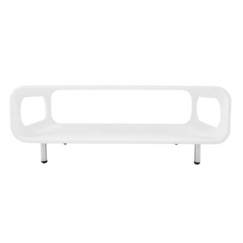 Table basse rectangulaire lomme en bois laqu blanc for Table basse en bois blanc