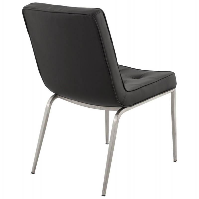 Chaise vintage capitonn e lingo en simili cuir noir for Chaise en simili cuir
